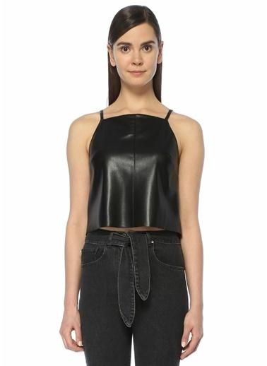 Nanushka İnce Askılı Kısa Bluz Siyah